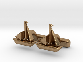 "Ship Cufflinks, Part of ""Nautical"" Collection in Natural Brass"