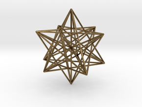 Stellated Dodecahedron with axes - 50mm in Natural Bronze