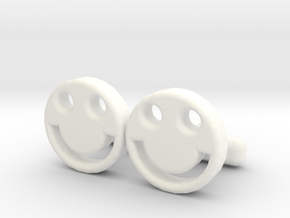 "Happy Face Cufflinks, Part of ""Fun Loving"" Collect in White Processed Versatile Plastic"
