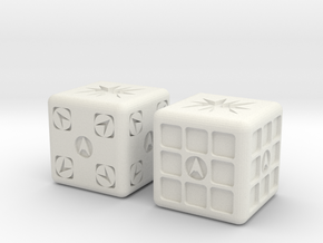 Test Printing Space Dice in White Natural Versatile Plastic