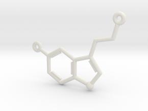 Serotonin Molecule Pendant or Earring in White Natural Versatile Plastic