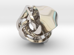 Rose Ball Pendant With Bail 20mm in Platinum