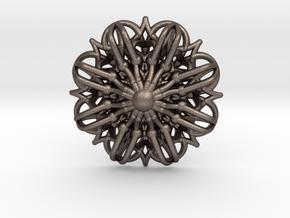 Mandala Stardust Pendant  in Polished Bronzed Silver Steel