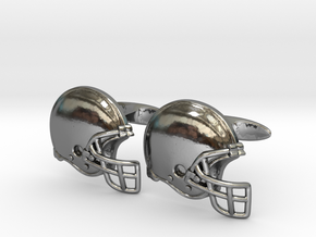 Cufflinks Football helmet  in Fine Detail Polished Silver