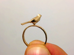 Poly Bird Ring 6 in Natural Brass