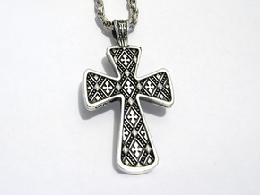 Ornate Cross Pendant - Large in Natural Silver