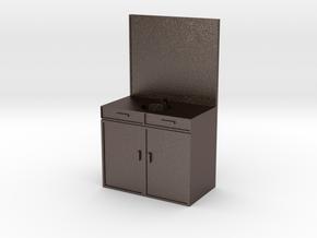 Mini Sink/Vanity for a Mini Bathroom in Polished Bronzed Silver Steel