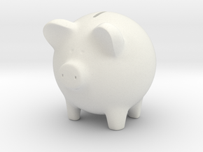 Piggy Bank in White Natural Versatile Plastic