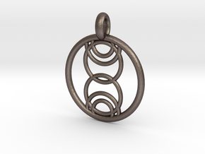 Kore pendant in Polished Bronzed Silver Steel