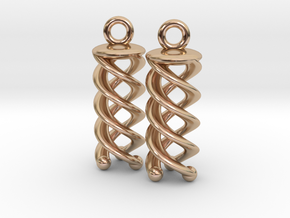 Triple Helix Earrings in 14k Rose Gold