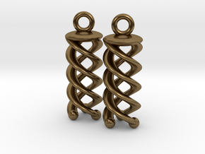 Triple Helix Earrings in Natural Bronze