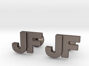 Monogram Cufflinks JF in Polished Bronzed Silver Steel