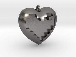 8-bit Heart in Heart Pendant in Polished Nickel Steel