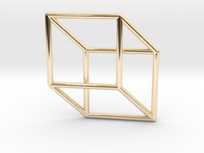 3d 2d Cube Fixed in 14K Yellow Gold