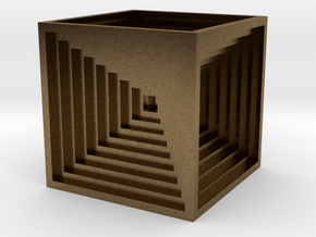 Impossible Cube 6cm in Natural Bronze