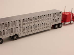1:160 N Scale 53' Spread Axle Livestock x2 in Smooth Fine Detail Plastic