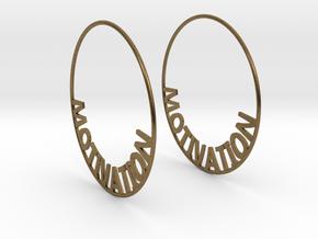Custom Hoop Earrings - Motivation 60mm in Natural Bronze