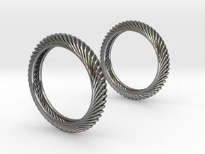 Wired Beauty 7 Hoop Earrings 40mm in Fine Detail Polished Silver
