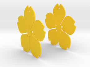Flowerish 11 Big Earrings 50mm in Yellow Processed Versatile Plastic