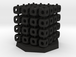 64 Board Game Piece and Stack-Cube Storage in Black Acrylic