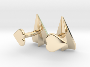 Paper Airplane Cufflinks with Heart Button in 14K Yellow Gold