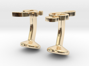 Treble and Bass Clef Cufflinks in 14K Yellow Gold