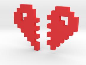 2 Halfs of an 8 Bit Heart (Pixel Heart) in Red Processed Versatile Plastic