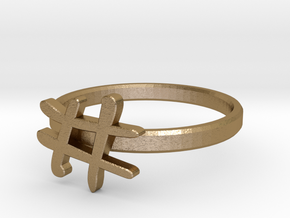 Minimalist Hashtag Ring Size 7 in Polished Gold Steel