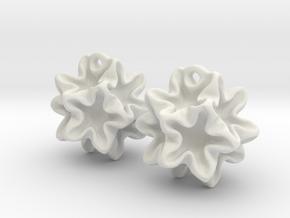 Imploded star earrings  in White Natural Versatile Plastic