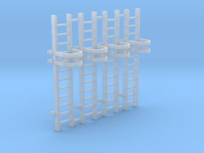 'N Scale' - (4) - 10' Caged Ladder in Smooth Fine Detail Plastic