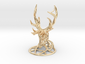Deer Head With Stand  in 14K Yellow Gold