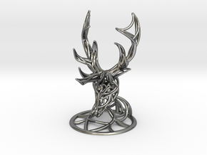 Deer Head With Stand  in Polished Silver