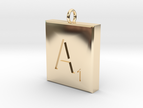 Scrabble Charm or Pendant-A in 14K Yellow Gold