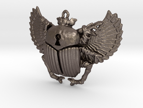 3D printed Winged Scarab in Polished Bronzed Silver Steel