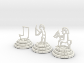 Chess set of Egypt(R,N,B) in White Natural Versatile Plastic