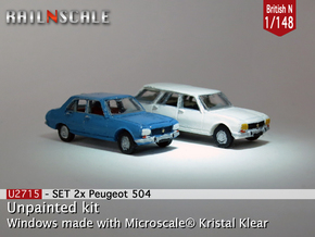 SET 2x Peugeot 504 (British N 1:148) in Smooth Fine Detail Plastic