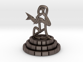 Pawn of chess in Polished Bronzed Silver Steel