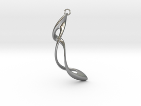 Earring: Twisted loop - 5 cm in Natural Silver