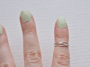 Wave Knuckle Ring in Raw Silver