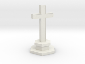 N Scale Cemetery Cross Center Piece 1:160 in White Natural Versatile Plastic