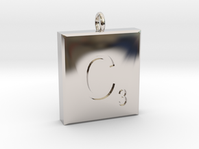scrabble Charm or Pendant C blank  in Platinum