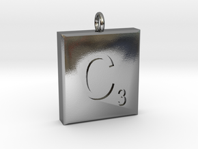 scrabble Charm or Pendant C blank  in Polished Silver