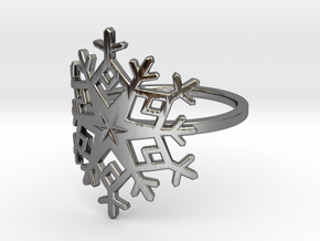 Snowflake Ring - US Size 08 in Fine Detail Polished Silver