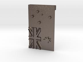 Australian Flag Belt Buckle in Polished Bronzed Silver Steel