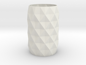 Stylish Faceted Designer Vase - 120mm Tall in White Natural Versatile Plastic