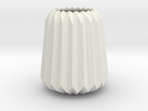 Stylish Faceted Designer Vase - 100mm Tall in White Natural Versatile Plastic