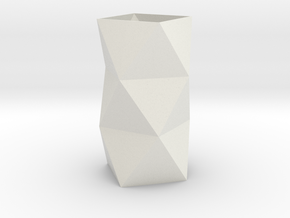 Stylish Faceted Designer Vase - 100mm Tall in White Strong & Flexible