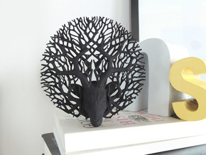 Tree deer stag wall decoration in Black Natural Versatile Plastic