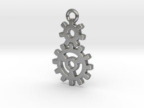 2 Gear Steampunk Pendant in Natural Silver