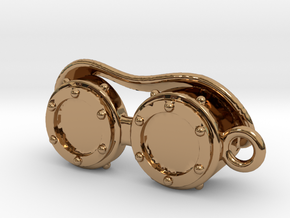Steampunk Goggles Charm/Pendant in Polished Brass